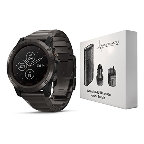 Garmin Fenix 5X Plus Sapphire Premium Multisport GPS Watch with Maps, Music and Contactless Payments and Wearable4U Ultimate Power Pack Bundle (Sapphire/Titanium with Titanium Band)