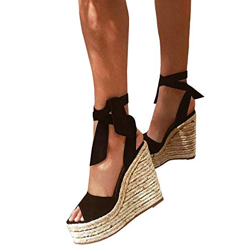 86a7d731975 Womens Platform Lace Up Wedge Espadrille Heel Peep Toe Sandals with Ankle  Strap Buckle Up Shoes