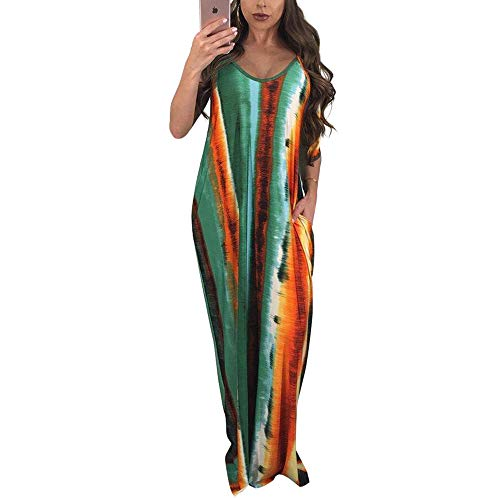 WOOSEN Womens Summer Suspender Maxi Dress Plus Size Striped Printed Sleevess with Pockets and Belt Army Green -