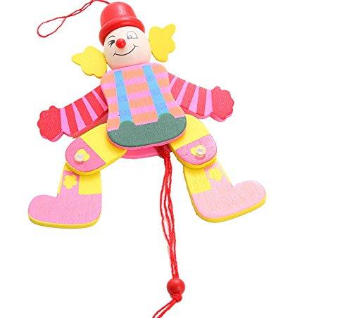 FlowerKui Kids Toy Wooden Clown Pull String Toy Arms Legs---Random Color