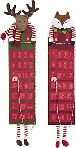 - Transpac Imports, Inc. Fox Rosy Red 50 x 10 Plush and Felt Christmas Holiday Décor Advent Calendar