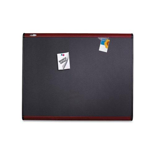 Quartet Prestige Plus Magnetic Fabric Bulletin Board, 3 x 2 Feet, Mahogany Finish Frame, One Board per Order -