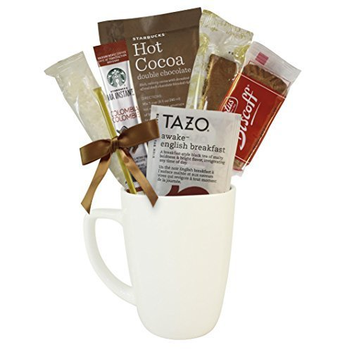 Starbucks Coffee, Hot Cocoa, and Tea Boxed Set Featuring Starbucks Via Coffee, Starbucks Hot Cocoa, Tazo Tea, Nonni's Biscotti, Biscoff Cookies, Honey Stix, Sugar Crystal Stirrer, and Mug