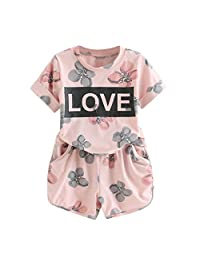 datework Toddler Kids Baby Girls Outfits Clothes Letter Flower Print T-Shirt+Shorts Set