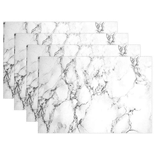 MAHU Placemat 1 Piece Marble Pattern Print Washable Table Place Mats 12x18 inch Polyester Heat Resistant for Kitchen Dinner Home Decor