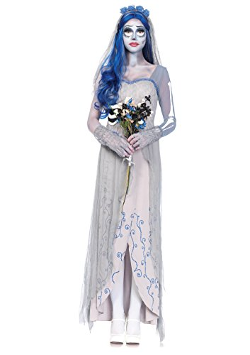(Leg Avenue Women's 4 Piece Corpse Bride Costume, Grey/Blue,)