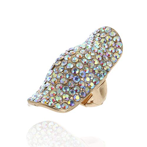 (SP Sophia Collection Half Finger Long Fully Studded Adjustable Rhinestone Ring in Gold Iridescent )