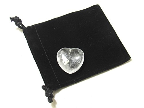 Zentron Crystal Collection: Clear Quartz 30MM Polished Worry Stone Puff Heart and Velvet Pouch Shaped Clear Crystal