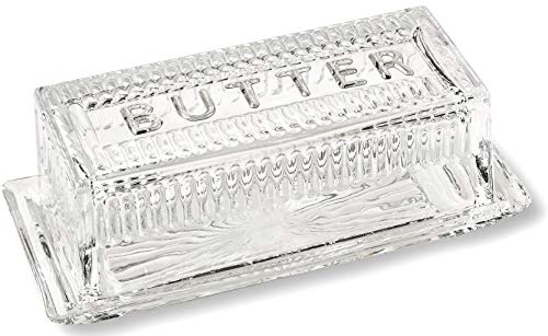 Glass Butter Dish - Bezrat Glass Butter Dish with Lid | Classic 2-Piece Design Butter Keeper | Covers and Holds a Standard Stick of Butter | Dishwasher Safe