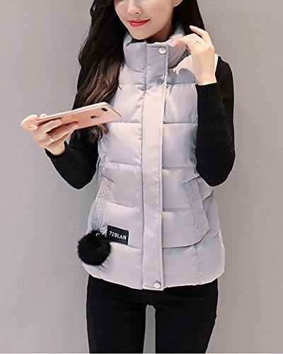 Hooded Grey Vest Leisure Outwear Coats Stand Solid Parka Women's Sports Color Warm ZongSen Collar 08xOIwgq