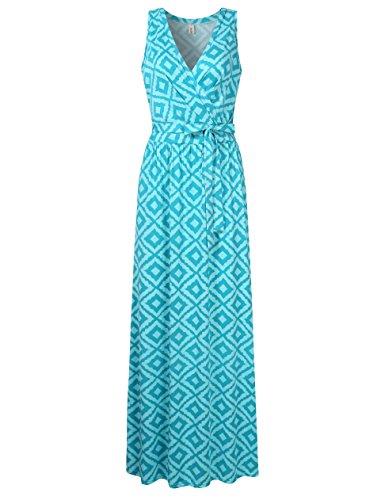 Bodice Dress Crossover (Leadingstar Womens Bohemian Printed Wrap Bodice Sleeveless Crossover Maxi Dress Green Rhombus S)