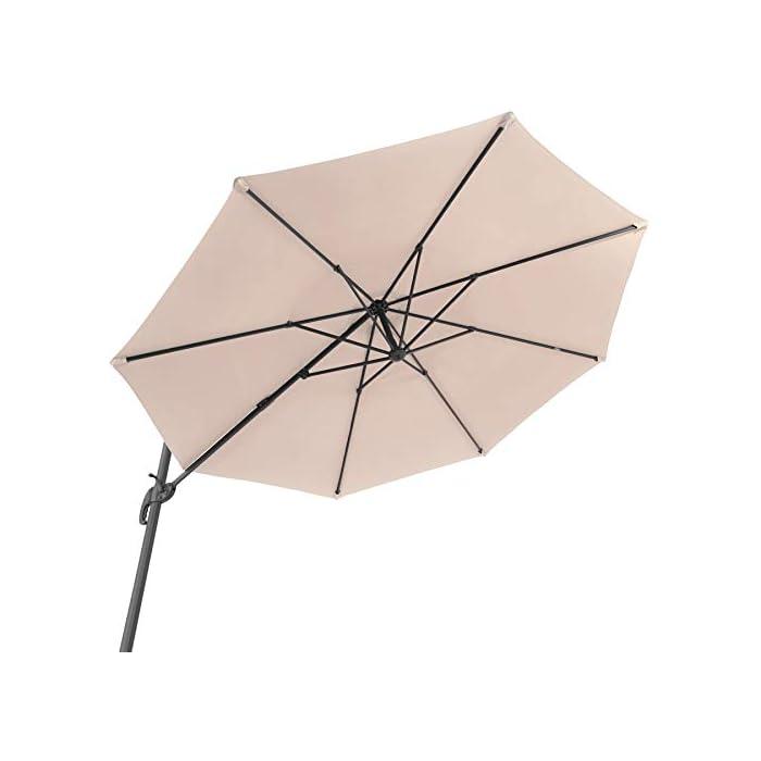 41sIaAC%2Bo6L Acapara todas las miradas con la elegancia y el exquisito diseño del parasol ajustable de tectake // Medidas totales (largo x ancho x alto): aprox. 372 x 300 x 250 cm // Medidas plegado (largo x ancho x alto): aprox. 100 x 100 x 260 cm. Gracias a su mecanismo de manivela, control deslizante y pedal, esta sombrilla colgante se abre y se coloca rápidamente y sin esfuerzo en la posición que usted desee // Diagonal del parasol: aprox. 300 cm // Altura de paso: aprox. 210 cm // Grosor de la tela: 180 g/m². Este parasol con soporte lateral posee un robusto poste y una práctica base que puede soportar hasta cuatro placas de base, proporcionando así la estabilidad requerida // Tubo vertical (largo x ancho): aprox. 7 x 5 cm // Base (largo x ancho): aprox. 100 x 100 cm // Peso: aprox. 15,8 kg.