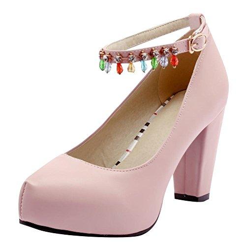 YE Damen Ankle Strap Pumps Blockabsatz Plateau High Heels Geschlossen mit Schnalle und Strass Elegant Schuhe