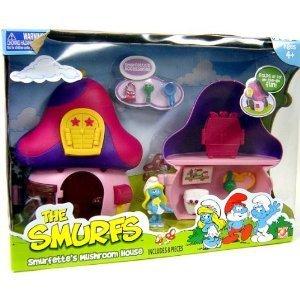 Mushroom Smurf (Smurfs 2 Inch Articulated Mini Figure Playset Smurfette with Mushroom House)