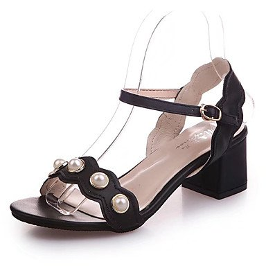 RUGAI-UE Moda de Verano Mujer sandalias casuales zapatos de tacones PU Confort,Oro,US5 / UE35 / UK3 / CN34 White