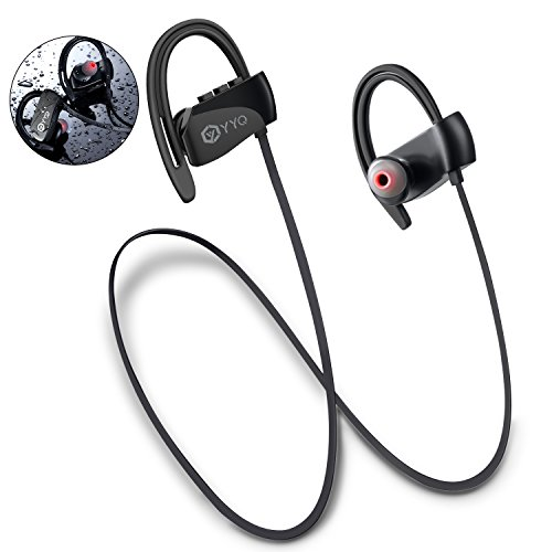 Bluetooth Headphones, M3 Wireless Sports Headset with Mic Waterproof Earphones HD Stereo Sweatproof Earbuds with Carring Case for Gym Running Workout 12 Hour Noise Cancelling Black
