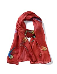 Invisible World Women's 100% Mulberry Silk Scarf Hand Painted Dragonfly Russet