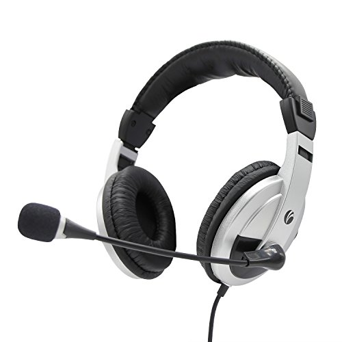 Computer Headset - With Microphone - Noise Cancelling and Lightweight - for PC & MAC - By Vcom - Available in 4 Colors