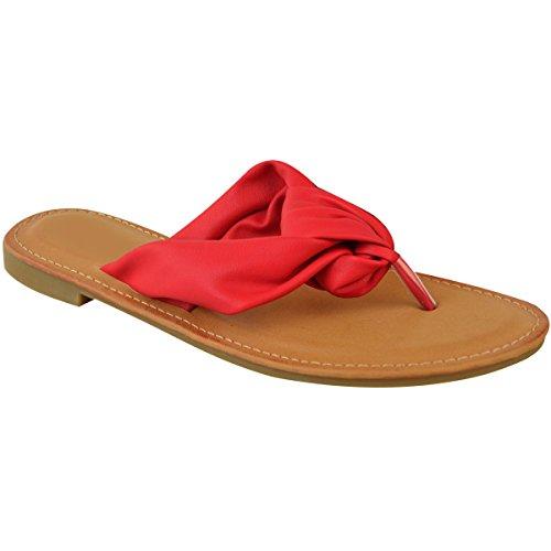 Rouge Plage Cuir Doigts Fashion Thirsty pour Entre Ouvert Plates Bout Tongs Femme Imitation Vacances WfRq7WOA