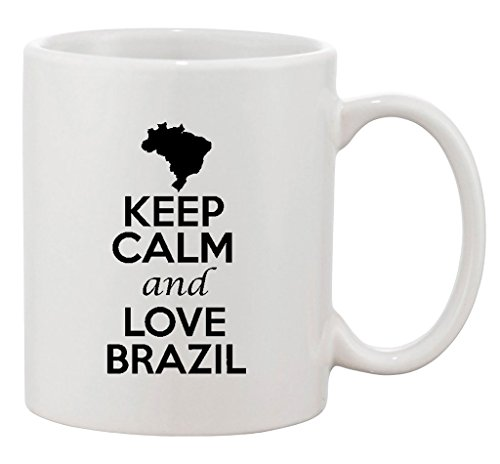 Keep Calm And Love Brazil Brasilia Country Patriotic Ceramic White Coffee Mug ()