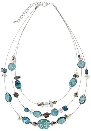 Carol Dauplaise 3 Row Shell Illusion Necklace One Size Turquoise blue/multi - 3 Row Illusion Necklace