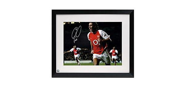 Enmarcado Robert Pires Firmado Arsenal Foto: Celebración de la meta: Amazon.es: Deportes y aire libre