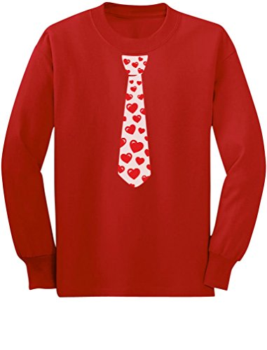 Red Hearts Tie for Valentine's Day Love Youth Kids Long Sleeve T-Shirt Small Red
