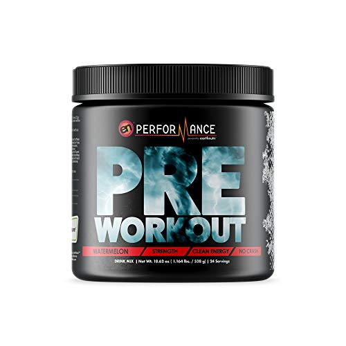 EarthNutri Pre Workout Supplement – Watermelon 528g Tub, 24 Servings