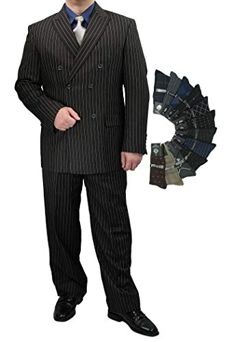 - Sharp Luxurious 2pc Men's Double Breasted Pinstripe Suit w/1 Pair of Socks - Black 38R