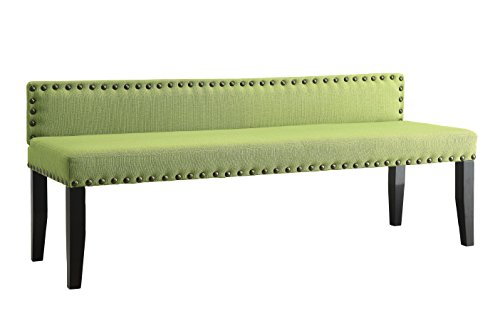 "Furniture of America Petunia Modern Linen-Like Fabric Bench, 64"", Green"