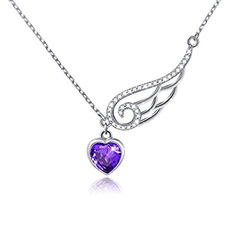 925 Sterling Silver Cubic Zirconia Guardian Angel Wing Heart Pendant Necklace for Women, 18