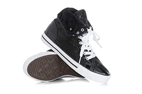 Double Platinum Adult Hi-Top Sequin Fur Sneaker DESTINYBLK8.5 Black 8.5 M US