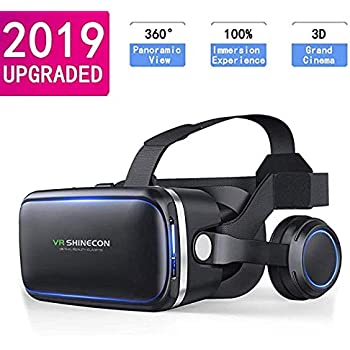 Works with Google Cardboard Black Adjustable 3D VR Glasses with Headphone for Mobile Games and Movies Virtual Reality Headset for Cell Phone Compatible 4.7-6 inch iPhone or Android