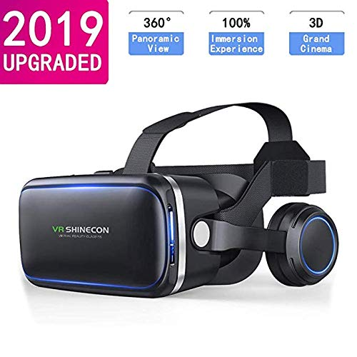 VR Headset for Cellphone, Adjustable 3D VR Glasses with Headphone for Mobile Games and Movies, Compatible 4.7-6.5 inch…
