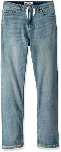 Levi's Boys' Big Slim Fit Elastic Waistband Jeans, Found with Drawstring, M
