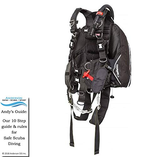 Zeagle SAR BCD Size 2XL - Search and Rescue Buoyancy Compensator Lighting Harness Ripcord Weight System Bundle Andersons Scuba Safety Guide ()