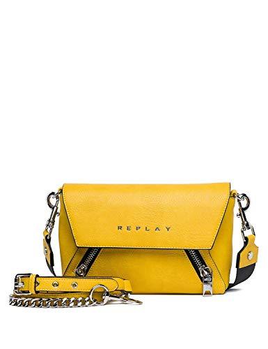 Replay Sac à bandoulière à fermeture zippée pour femme, jaune