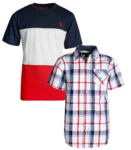 U.S. Polo Assn. Boy\'s Short Sleeve Button Down Shirt 2 Piece Set (Blue/Red Plaid, 18)'