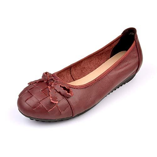 FLYRCX Zapatos Planos de Cuero de Vaca Arco Zapatos de Cuero de tacón bajo Zapatos Casuales Zapatos de Oficina de Trabajo de señoras Zapatos de Mujer Embarazada C