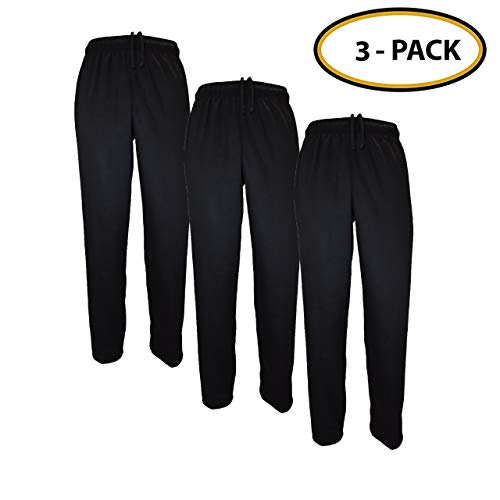 Classic Chef Pants (Large, 3 Pack Black)