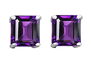Star K Square 7mm Simulated Amethyst Earring Studs Sterling Silver
