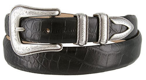 Brenton - Men's Italian Calfskin Designer Dress Golf Belt with Western Silver Plated Buckle Set (42 Alligator Black)