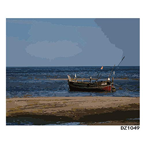 LovetheFamily 数字油絵 数字キット塗り絵 手塗り DIY絵 デジタル油絵 ホーム オフィス装飾 40x50cm 木の小舟の商品画像