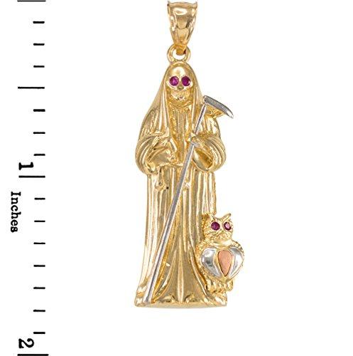Joyara - Collier Pendentif Trois Ton-14-Karat Gold Sankt Muerte Rouge Oxyde de Zirconium
