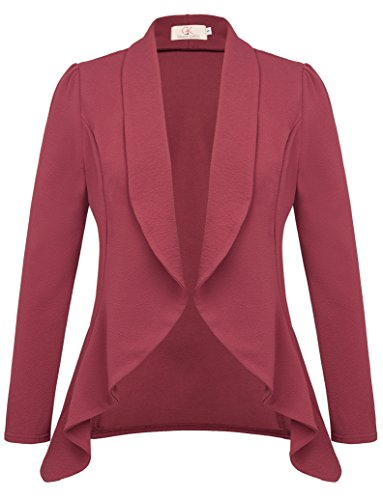 Ladies Draped Open Front Asymmetrical Blazer for Work Size L Wine Red