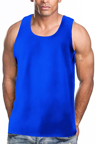 - Men's A-Shirt Muscle Tank Top Gym Work Out Super Thick 3 PACK (Large, Royal Blue)