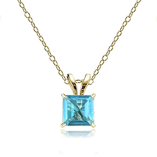 Swiss Cut Yellow Pendant (Bria Lou 14k Yellow Gold Swiss Blue Topaz Gemstone 6mm Square-Cut Solitaire Pendant Necklace, 18