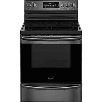 "Frigidaire FGEF3059TD 24"" Electric Freestanding Range with 5 Smoothtop Cooktop, Storage, 5.7 cu. ft. Primary Oven Capacity, Self-Cleaning Mode, Viewing Window, in Black Stainless Steel"