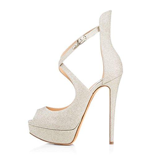 Open Taille Toe Chaussures Cross Femme Ubeauty Laçage Sandales Grande Escarpins Argent Plateforme 8azRpq