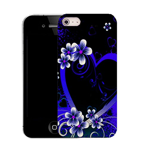 Mobile Case Mate IPhone 5 clip on Silicone Coque couverture case cover Pare-chocs + STYLET - blue alluring heart pattern (SILICON)